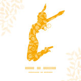 Sunny jumping girl golden leaves pattern Royalty Free Stock Images