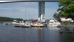 On a sunny june day at the road bridge Puumala. Finland stock footage