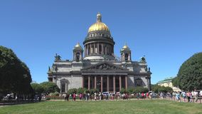 Sunny June day at the St. Isaac Cathedral. Saint Petersburg, Russia stock video footage