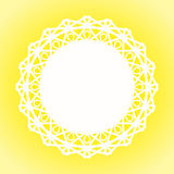 Sunny Lace Doily Border frame. Border frame with a picot and a yellow sun background Royalty Free Stock Photo