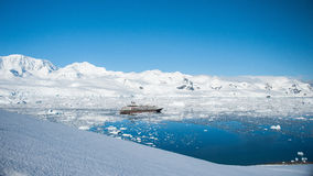 Sunny lagoon from the peak in Antarctica. This shot was made during expedition to Antarctica in January 2012 stock photos