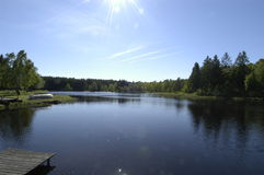Sunny Lake with Boat Ramp Stock Images