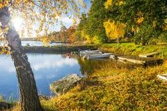 Sunny lake harbor Royalty Free Stock Image