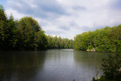 Sunny Lake in natura intorno a Bärensee, Stuttgart Immagine Stock