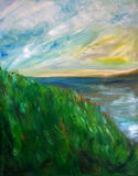 Sunny Lake Painting. Impressionist style oil painting of a grassy hill and lake on a sunny day Stock Image