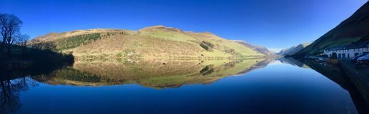 Sunny lake panorama Wales Royalty Free Stock Images