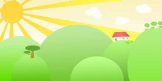 Sunny land. Countryside sunny landscape with green hills Stock Photo