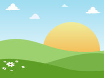 Sunny Land. Illustration design of grass land and a sunny day Royalty Free Stock Image
