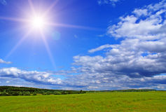 Sunny landscape. Summer landscape with blue sky, green grass and trees Royalty Free Stock Photo
