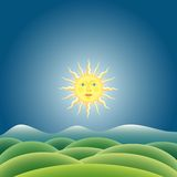 Sunny landscape. Vector illustration of the sunny landscape Royalty Free Stock Photos