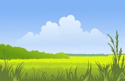 Sunny landscape vector illustration