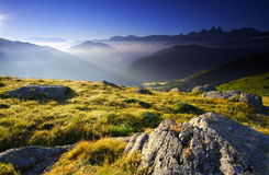 Sunny landscape in the alps, france Royalty Free Stock Photo