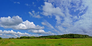 Sunny landscape b. Summer panorama landscape with wonderful sky and clouds Stock Photo
