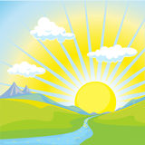 Sunny landscape background. With green field, river, mountain and sunshine Stock Photos