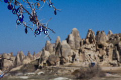 Sunny landscape of Cappadocia Mountains Stock Photography