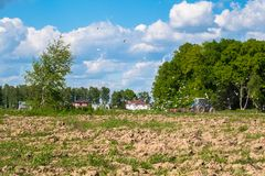 Sunny landscape of the countryside in the beginning of summer. A tractor plows the field. Flocks of birds follow directly behind a tractor, plowing the field Stock Photo