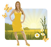 Sunny landscape and girl. Summer sunny landscape with flowers and girl. Canicular sun day Stock Photos