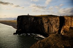 Sunny landscape in Iceland. Cliff stock images