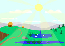 Sunny landscape with lakes. Drawing against the background of mountains Royalty Free Stock Photos