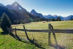 Sunny landscape of mountain village Stock Photos