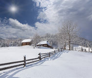 Sunny landscape in the mountain village. Stock Photos