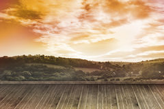 Sunny landscape painted on wall Royalty Free Stock Photos