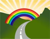 Sunny landscape with rainbow. Illustration design Royalty Free Stock Image