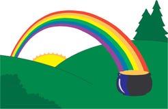 Sunny landscape with rainbow. Nature landscape with rainbow -  illustration Stock Images
