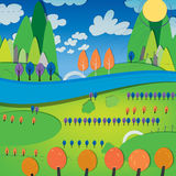 01 sunny landscape river. Vector illustration of abstract landscape with sunny valley and river Stock Photography