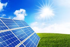 Sunny landscape with solar panel. Generate new Energy with Solar Royalty Free Stock Photos
