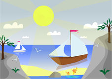 Sunny landscape. Summer landscape with a ship drawing Royalty Free Stock Photo