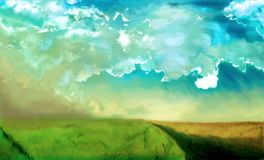 This is a sunny landscape. With a llustration created in the program Photoshop Royalty Free Stock Photography