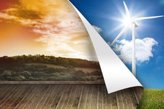Sunny landscape on wall over turbine background Stock Photo