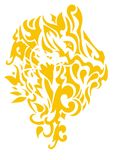 Sunny lion head. Stylization of the lion head with tropical motives Stock Photos