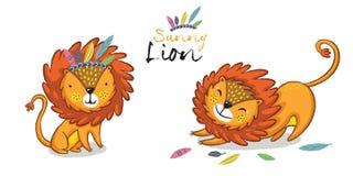Sunny lion set. King of the jungle. Animal vector illustration Stock Photos