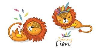 Sunny lion set. King of the jungle. Animal vector illustration Stock Image