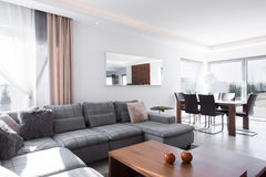 Sunny living room. Sunny and light living room in the house Stock Photo