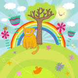 Sunny llustration. Sunny summer nature illustration - smiling cat on a flower field Royalty Free Stock Image