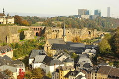 Sunny Luxembourg: old and new Royalty Free Stock Image