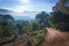 Sunny Mallorca landscape Soller. Landscape view in the Tramuntana mountains near Soller, Mallorca, Spain Stock Photography