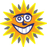 Sunny Man. Vector rendering of a sun with a face inside stock illustration