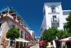 Sunny Marbella Old Town Restaurants Stock Foto's