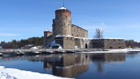 Sunny march day at the ancient fortress of Savonlinna. Finland. Sunny march day at the ancient fortress of Savonlinna, Finland stock video