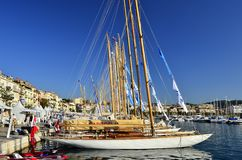 Sunny marina and leisure boats Cannes France stock photography