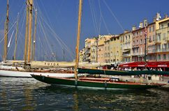 Sunny marina and leisure boats Saint Tropez France royalty free stock photography