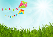 Sunny meadow. With color kites Royalty Free Stock Images
