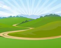 Sunny Meadow met eenzame weg Stock Fotografie