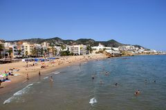 Sunny Mediterranean beach on a Spanish Coast Royalty Free Stock Photography