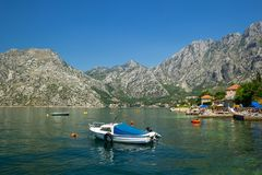 Sunny Mediterranean landscape. Montenegro, Bay of Kotor.  royalty free stock photography