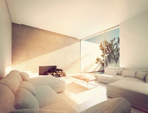 Sunny Mediterranean living room. With an enclosed outdoor patio and sun filled room with comfortable sofas and a fireplace with logs. 3d Rendering Royalty Free Stock Images